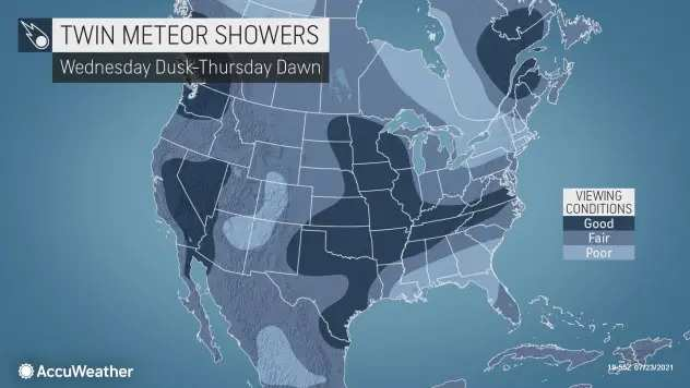 Twin Meteor Shower Visibility Map