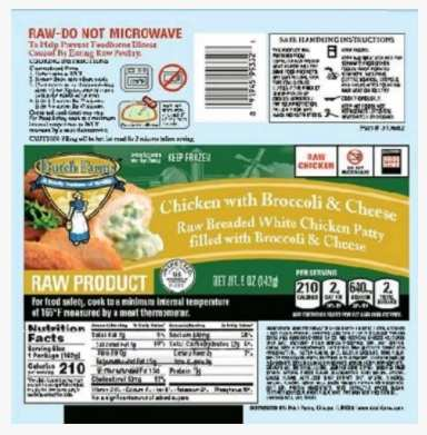 60000 Pounds of Frozen Chicken Items Recalled Over Salmonella Contamination