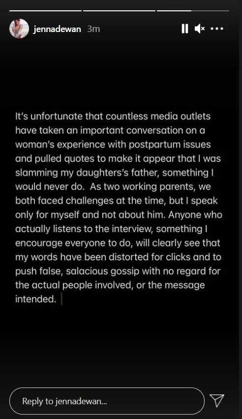 Jenna Dewan Instagram Story